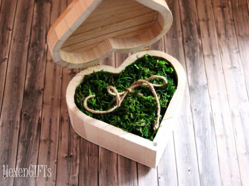 Holzherz Box Ringkissen vintage green wedding